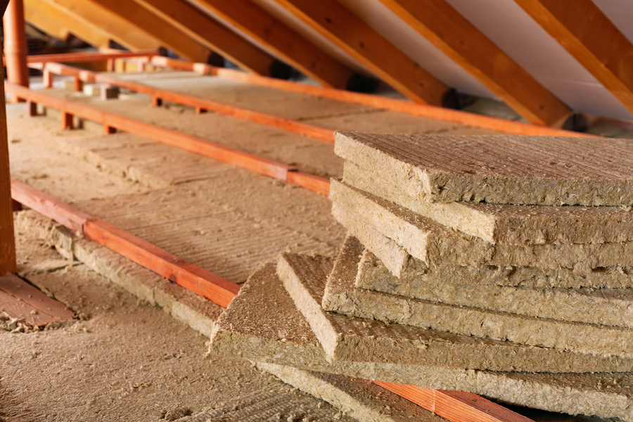 Mineral wool attic insulation