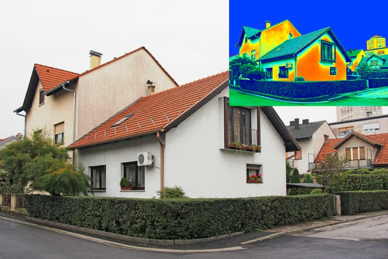 A photo juxtaposing an image of a house and an infrared version of that image